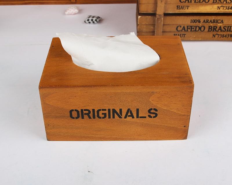 1 ST 3 Kleuren Rechthoekige vintage houten tissue doos voor kantoor - Home opslag en organisatie