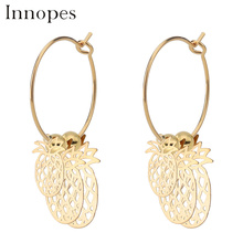 Innopes Girls fashion 2019 statement earrings Pineapple safety pin girl style