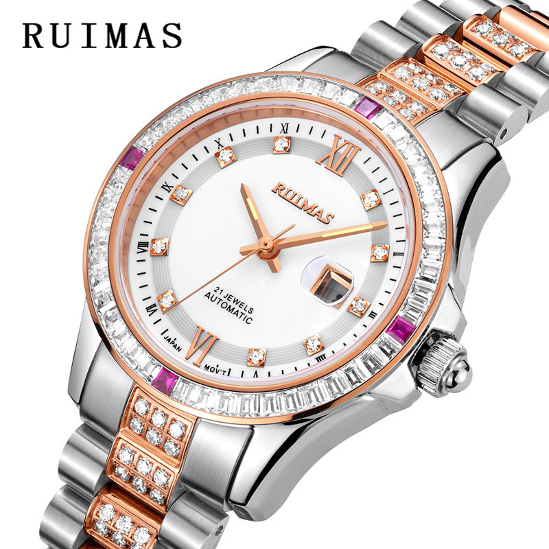Luxury RUIMAS Fashion Wrist Watch Women Watches Relogio Feminino Brand Lovers Clock Jewels Decor Ladies Wristwatch xfcs rigardu fashion female wrist watch lovers gift leather band alloy case wristwatch women lady quartz watch relogio feminino 25