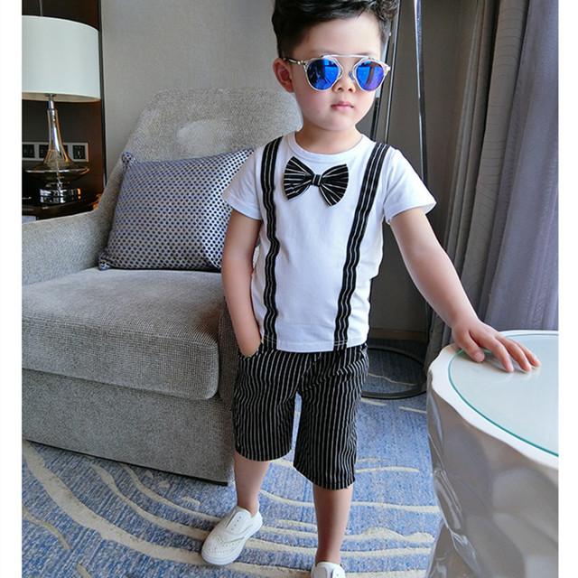 Criança meninos roupas 2016 nova verão bebê conjunto roupa menino inglaterra curto de mangas compridas camisa listrada calça de duas peças Set menino Set 2-8a