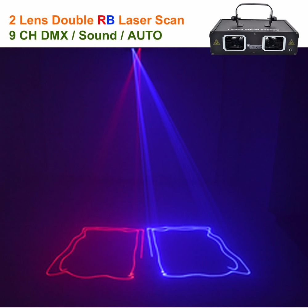 AUCD 2 Lens Red Blue RB Beam Laser Light DMX 512 Professional DJ Party Show Club Holiday Home Bar Stage Lighting 506RB rg mini 3 lens 24 patterns led laser projector stage lighting effect 3w blue for dj disco party club laser