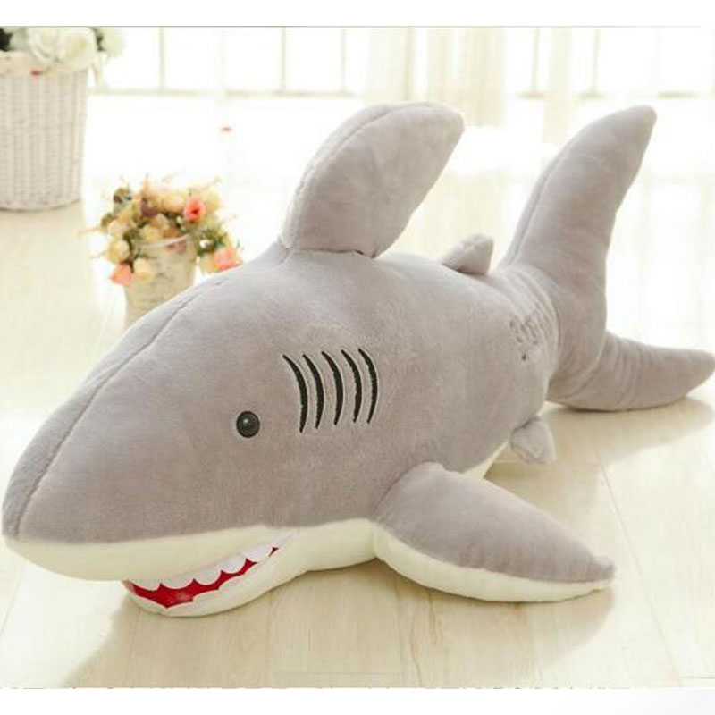 ФОТО 100CM Large Size Shark Plush Doll Toys Shark Cushion Pillow Doll Stuffed Plush Toy Doll For Girlfriends Birthday Christmas Gift