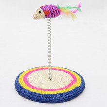 1Pc Pet Cat Toys Elastic Feather False Mouse Kitten Interactive Scratcher Round Furniture cat scratch board pad