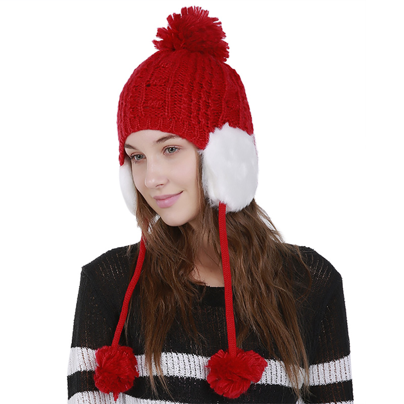 Winter Hats for Women Pompom Berets Gorros Fur Bomber Hats Knitted Hats Thicker Hat with Flaps Cap scarf Earflap H6