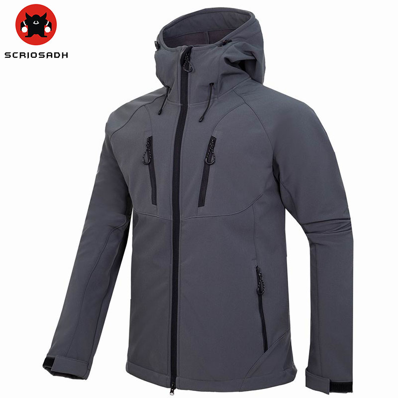Men's Outdoor Water Resistant Windbreaker Fleece Softshell Jacket Outdoor Climbing Fishing Clothes Breathable Outdoor Jacket
