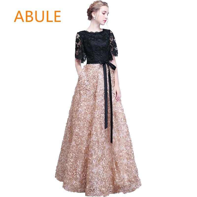 ABULE haute qualité longues robes De soirée aline dentelle simple Robe De bal élégante dentelle Robe De soirée Longue 2018 nouveau