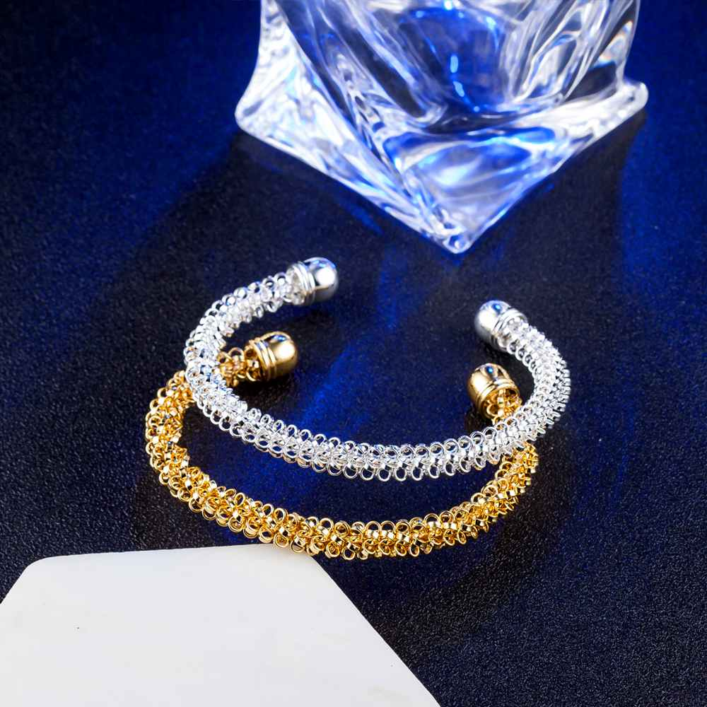 JEXXI Top Quality Sparkly Gold Silver Color Open Bangle for Men/Women Christmas Gift Delicate Knitted Bracelet Party Jewelry