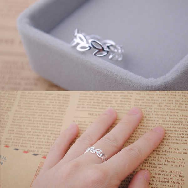 Богемный Винтаж 925 лист стерлингового серебра кольца для Для женщин Bijoux подарок женский Регулируемая Размеры регулируемые перстни Оптовая Продажа