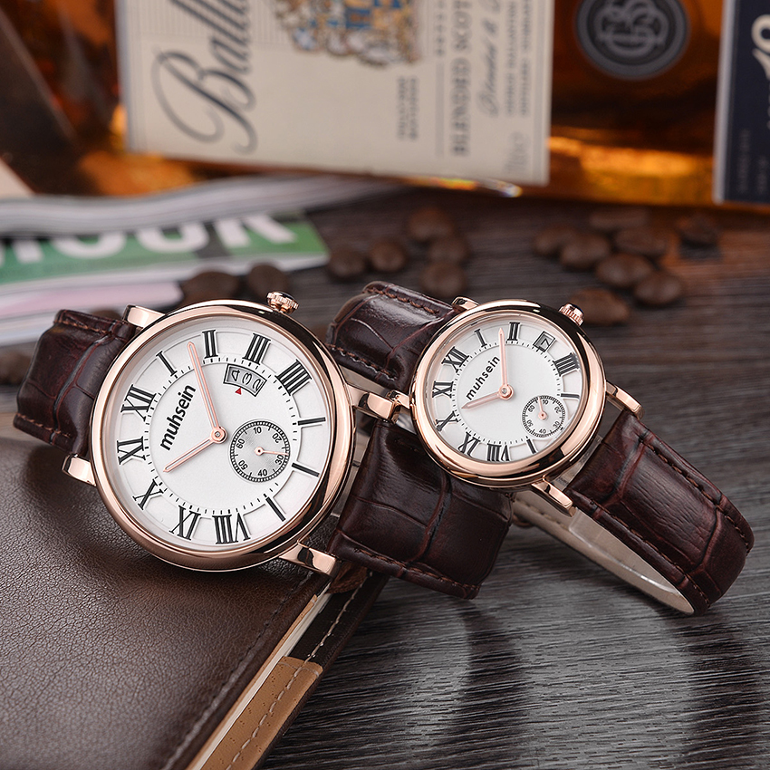 Distinguished  business casual quartz watch water resistant fashion watch ladies &men  leather strap watchDistinguished  business casual quartz watch water resistant fashion watch ladies &men  leather strap watch