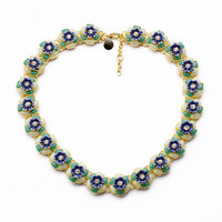 Classic Blue Green Resin Flower Necklace Collar Jewelry Boho Fashion Statement Bib Necklace Women Bijoux