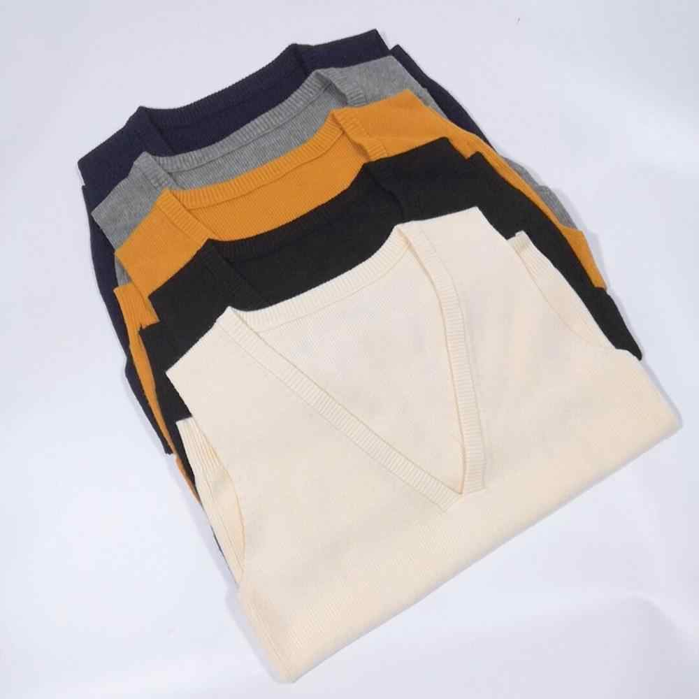 2019 весна осень шерстяной свитер, жилет женский без рукавов v-образный вырез вязаный жилет Женский Повседневный безрукавный пуловер с разрезом сбоку