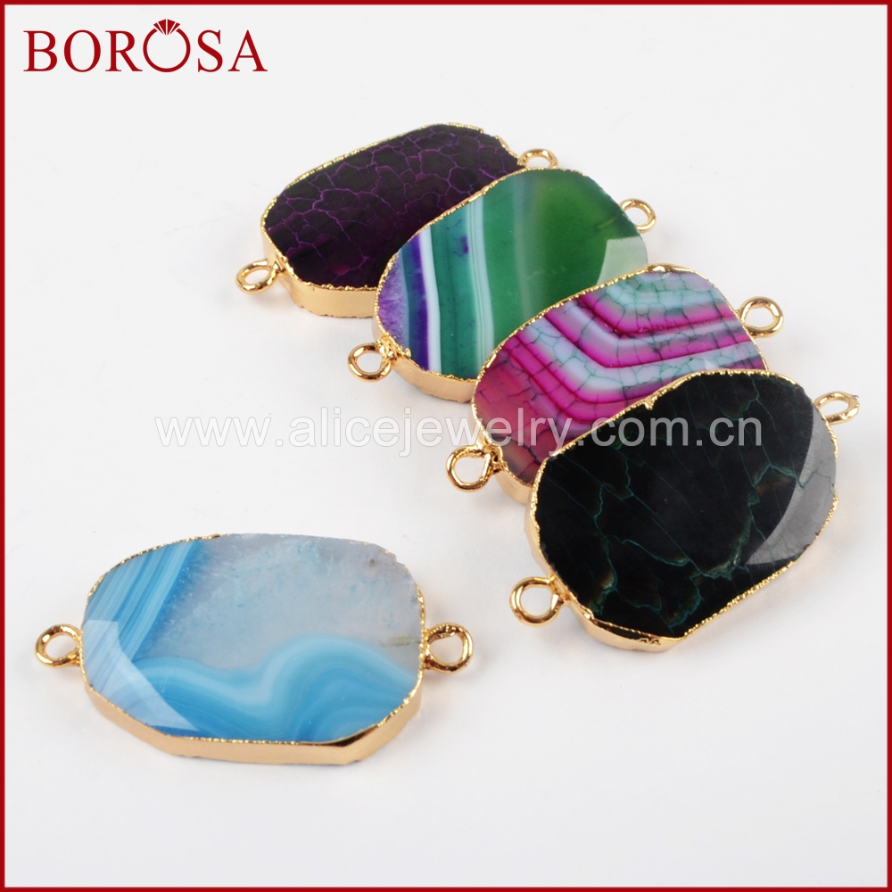 BOROSA Gold Color Polished Rainbow Onyx Fire Stone Druzy Slice Connector Double Bails for DIY Bracelet,for Jewelry Making G1400