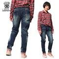 XIAOYOUYU Tamaño 120-160 Chicas Casual Jeans Diseño Simple Niño Recta Pantalón Elástico de La Cintura Pantalones Niñas Ropa de Niño Ocasional