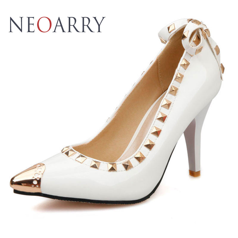 NEOARRY Women High Heel Shoes Sequined Pointed Toe Pumps Bowtie Rivet Studded Wedding Party Dress Stiletto Shoes Woman JT615 onlymaker ladies women s high heel closed toe pumps rivet studded sandals handmade for wedding party dress stiletto shoes