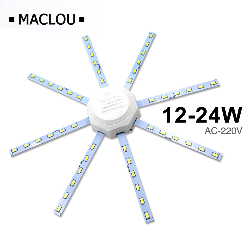 High Bright LED Ceiling Lamp Tube Energy Saving Indoor Lamp Plafon 12W 16W 24W 220V PCB Board Modified Bulb Plate Octopus Lights
