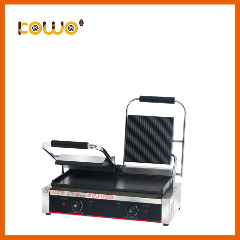 commercial table counter top kitchen equipment Stainless steel non-stick double plate electric steak bbq panini contact grill цена 2017