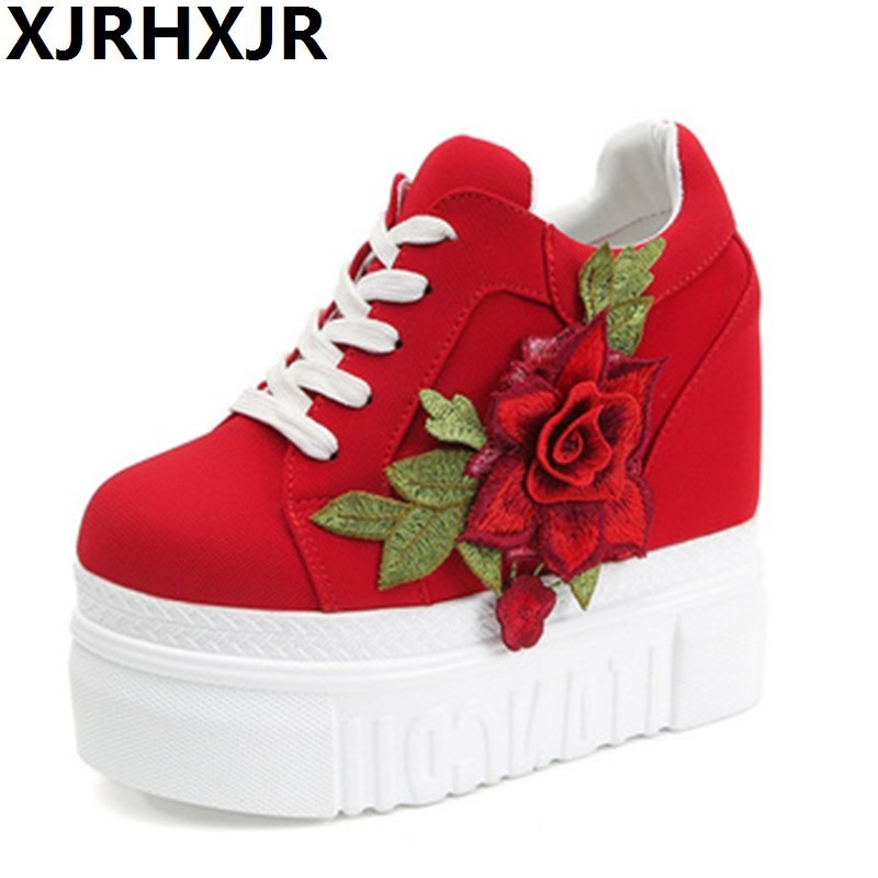 Red Rose Hidden Wedge Heels Fashion Womens Elevator Shoes For Women Breathable Lace Up Height Increasing Shoes