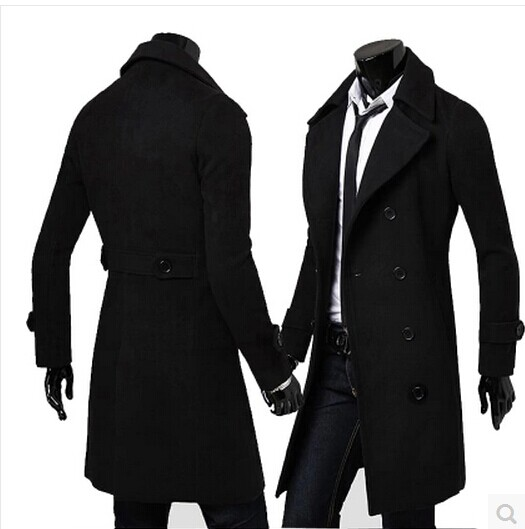 Black grey khaki fashion autumn long coat men trench teenage slim ...