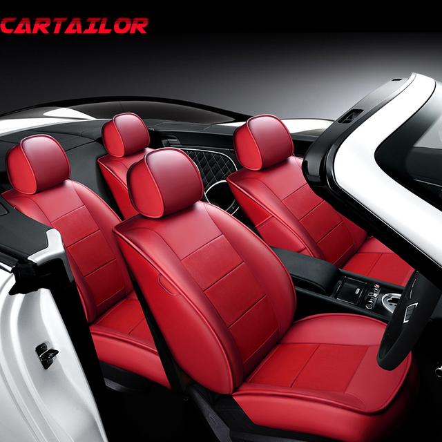 CARTAILOR Red Cowhide Leather Car Seat Cover For Toyota Wish Vehicle Covers Cars Seats Protector