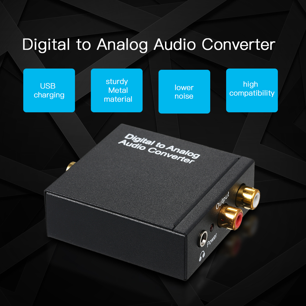 Digital To Analog Audio Converter-toslink And Spdif/coaxial Inputs To Analog Rca L/r And Aux 3.5mm Jack Support Headphone Output Computer Cables & Connectors