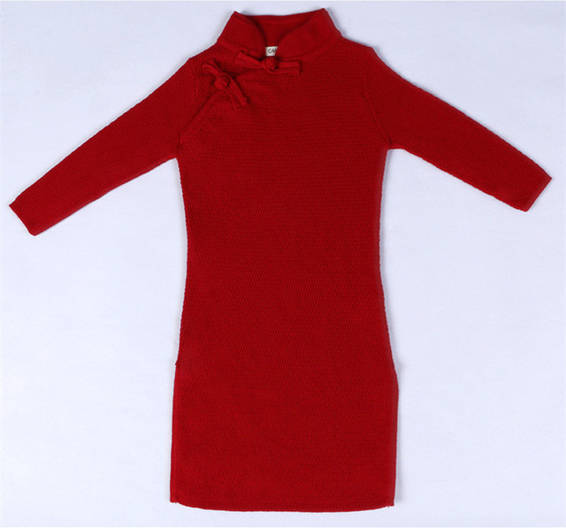 Nuevo Estilo de China Tang Traje Cheongsam Vestido de Suéter de Algodón Sólido Suéter de Las Muchachas Niños Del Resorte Del Otoño Ropa 1-5Y AS-1586