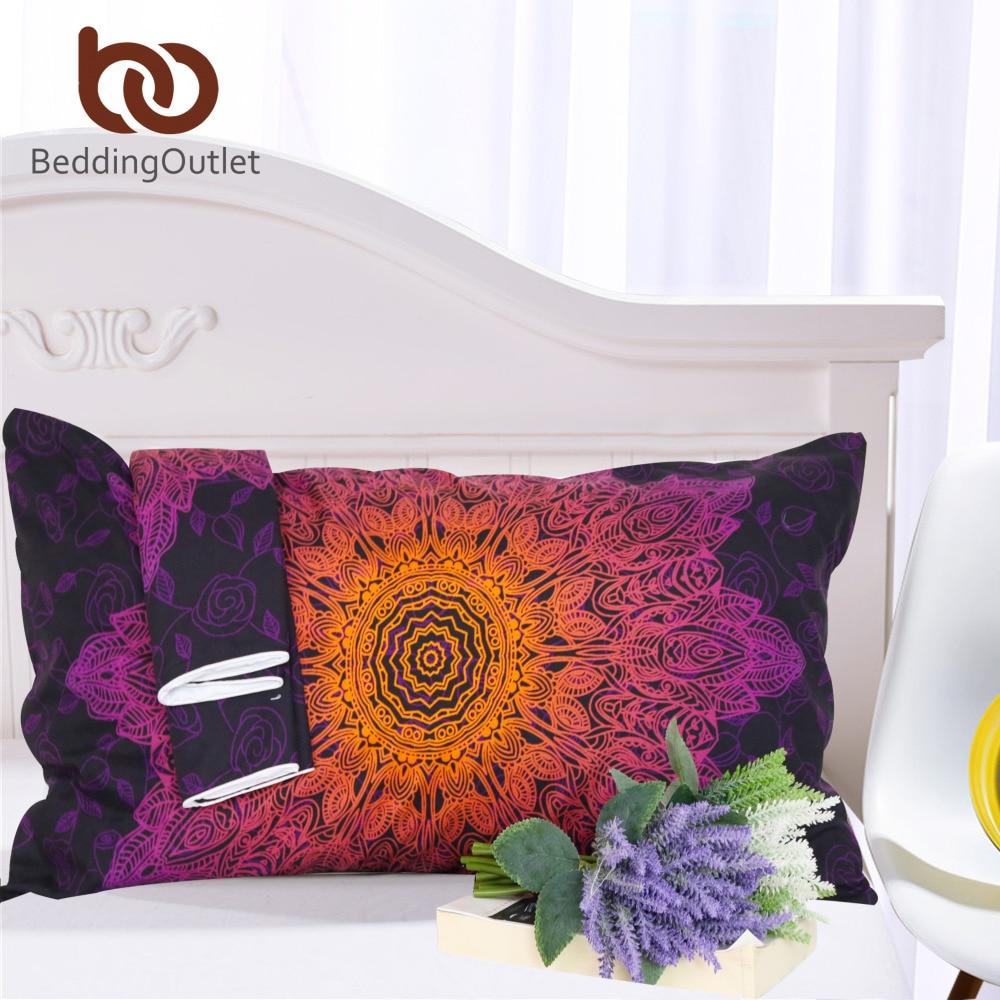 BeddingOutlet Floral Boho Pillow Case Gradient Color Mandala Pillowcase for Home 1Pcs 50x75cm 50x90cm Purple Pillow Cover