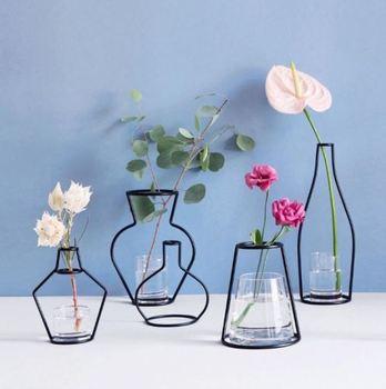 Limit 500 1Pcs Creative Iron Line Flower Plant Vase Pot Dest Flower Plants Stand Holder Terrarium Container Planters Baskets 1