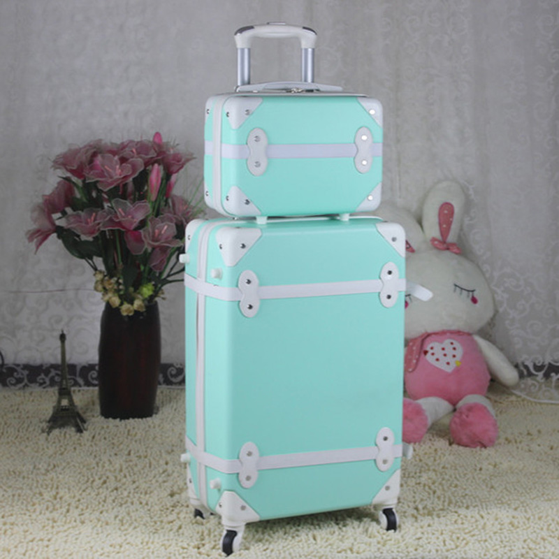 8fb47c3aa921 Letrend ABS Vintage Suitcase Wheels Rolling Luggage Set Spinner Women Retro  Trolley Cabin Travel Bag Students Carry On Trunk