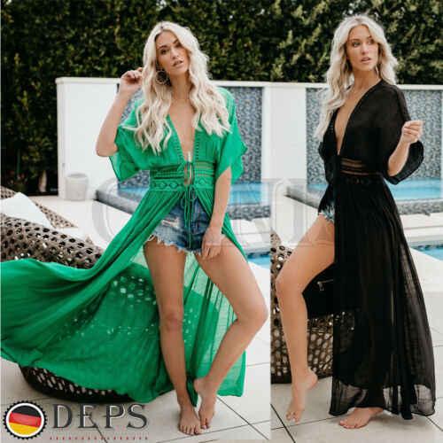 女性シフォンビキニロングをカバー夏のビーチドレスカーディガンロングカバーアップビーチウェア Beachdress 水着 2019 ファッション新しい