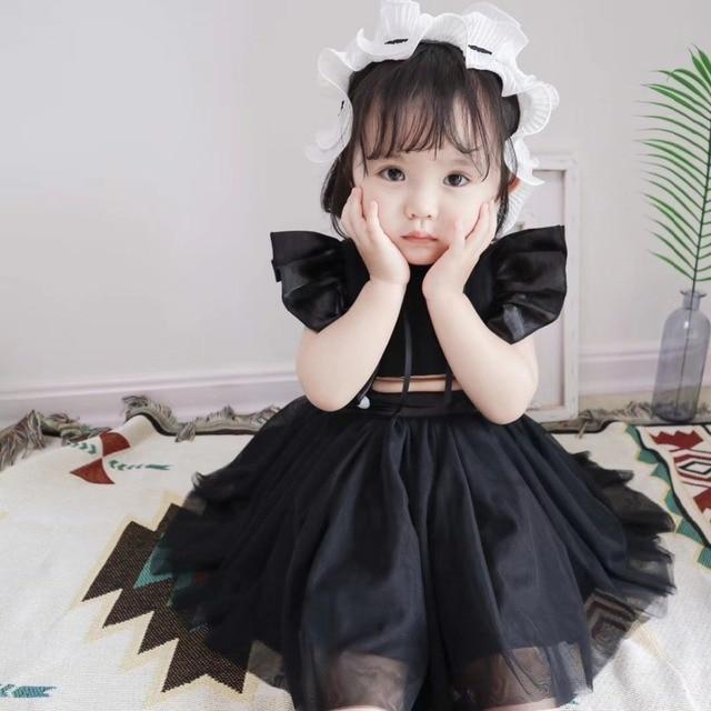 d6fe127df 2018 summer kids dresses for girls Solid black color baby girls ...