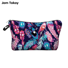 Jom Tokoy 3D Printing Makeup Bags With Multicolor Pattern Cute Cosmetics Pouchs For Travel Ladies Pouch