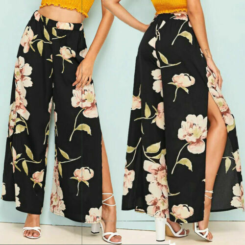 Women Elastic Floral Print   Pants   High Waist   Wide     Leg     Pants   Slit Casual Beach Wear Trousers Summer 2019 Ladies Clothes
