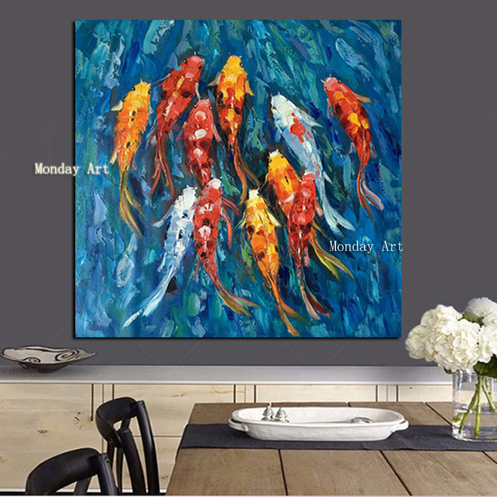 4111 Wall-Art-Picture-Traditional-Chinese-Abstract-Landscape-Oil-Painting-Print-Nine-Koi-Fish-on-Canvas-Poster (3)