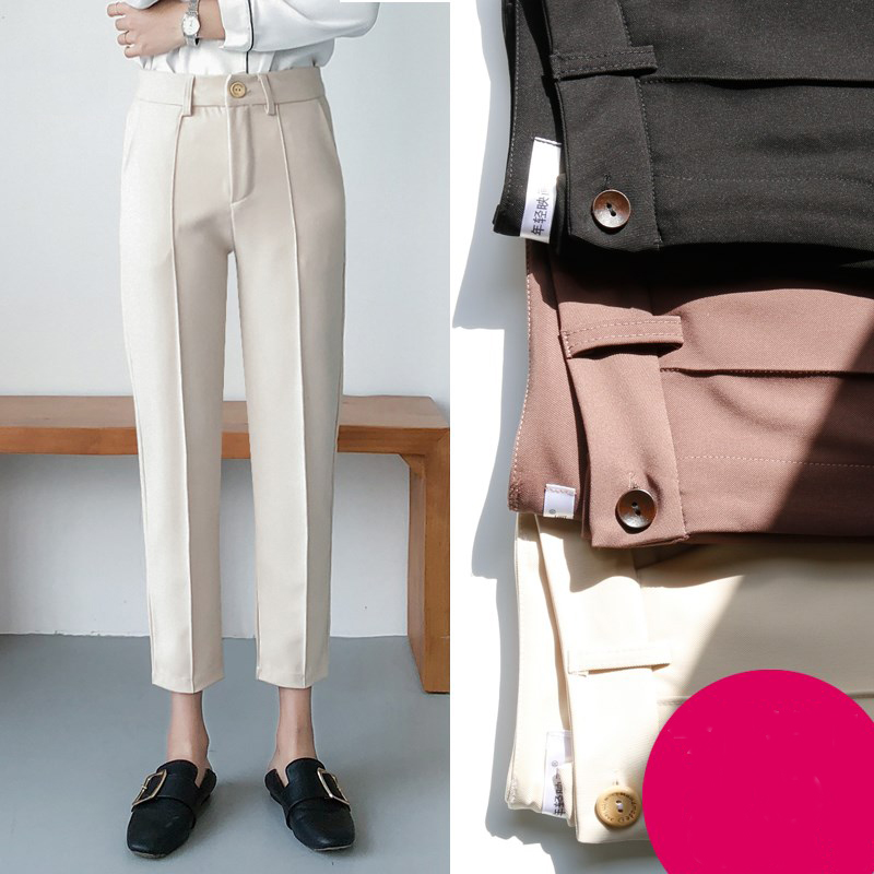 Autumn Office Lady Suit Pants Solid High Waist Zipper Ankle-Length Pants Harem Pants Feminine White Black Casual Trouse Bottom