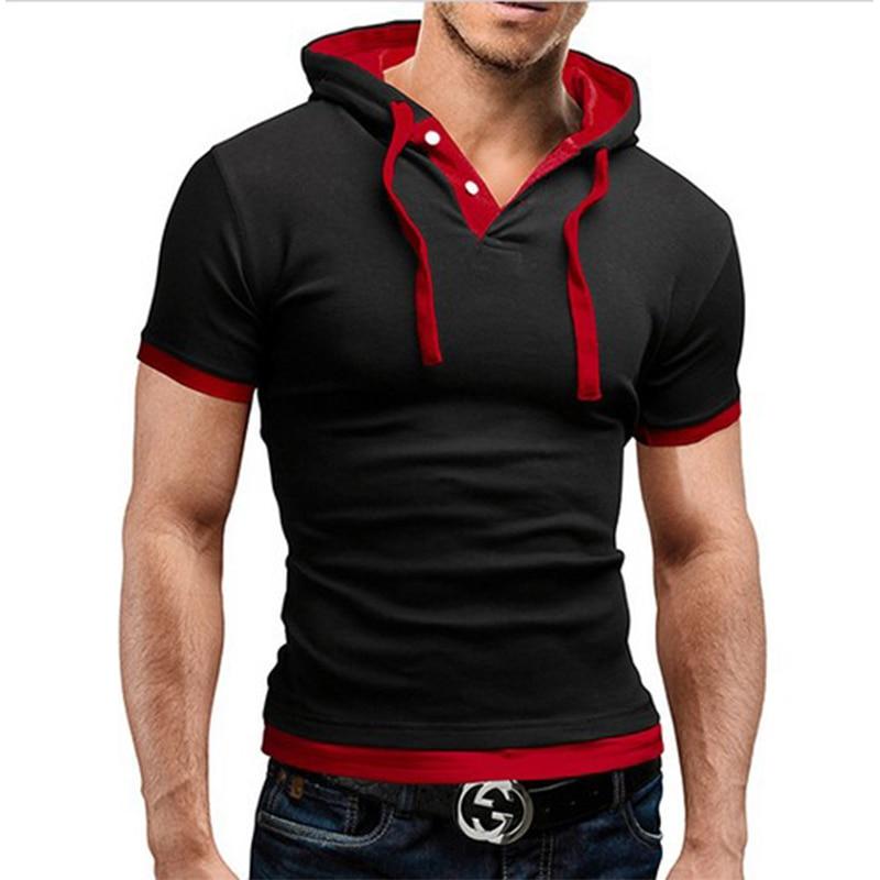 Men Fitness Tshirt Hooded Tees Summer Design T-Shirt Homme