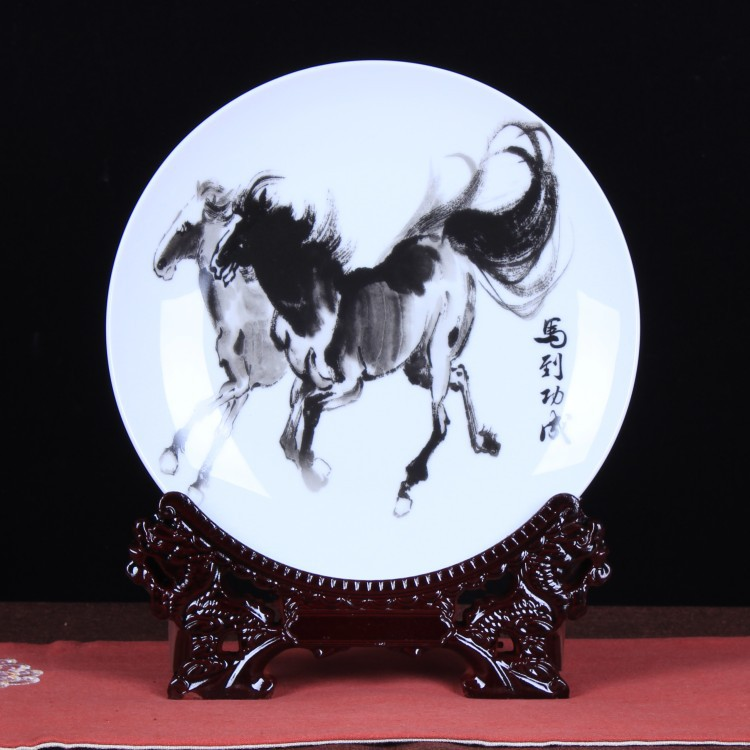 Collection Chinese Jingdezhen Porcelain Painting Zodiac Animal Horse Bring Success And Good Luck Ornament Small Plate