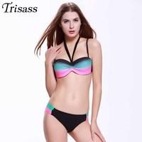 2016 Two Piece Swimsuit Colorful Swimwear Women Underwire Bikini Lace Up Bikinis Strappy Beachwear Bandage Trikini