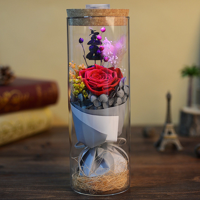 DIY Decoration Mothers Day GiftsPreserved Flowers In Cover Glass For Beauty And The Beast