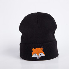 Beanies Cap fox cartoon Embroidery Warm Winter Hat Knitted Cap Hip Hop Men Women Lovers Street Dance Bonnet Skullies black