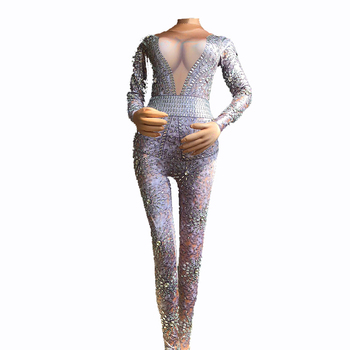 Sparkling Crystals 3D printing Female jumpsuit Club Party DJ DS costumes Jazz performance Modern dance show outfit for singer