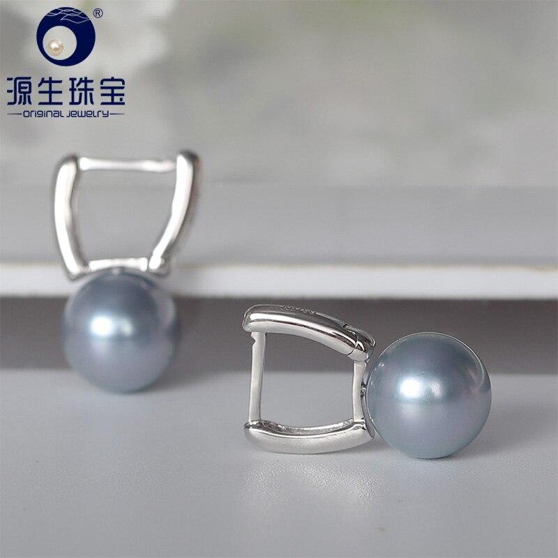 YS 18k Solid White Gold 8-8.5mm Silver Blue Genuine Rare Hanadama Akoya Pearl Stud Earrings украшение на шею mikimoto 8 8 5mm akoya 18k