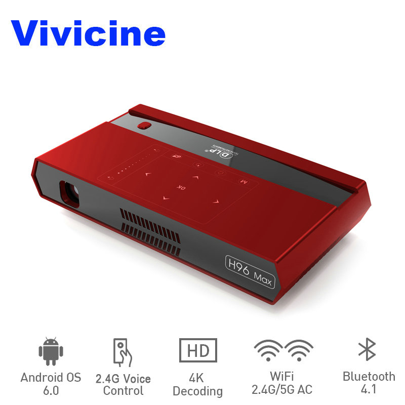 Vivicine 4K Mini Projector H96 Max,Android WiFi LED Home Theater Projector,HDMI USB PC Video Game Mobile Proyector Beamer