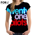 FORUDESIGNS Newest Twenty one Pilots Women T Shirt Comfort Elastic Short Sleeve Tops for Female Plus Size S-XXL Roupa Feminina