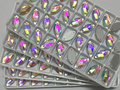 13x22mm Marquise Forma Crystal Clear AB sew na pedra 2holes botões de cristal base de Prata.