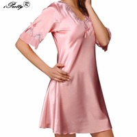 IPretty Women S Sexy Lingerie Faux Silk Satin Nightgowns Deep V Neck Half Sleeves Pyjamas Summer