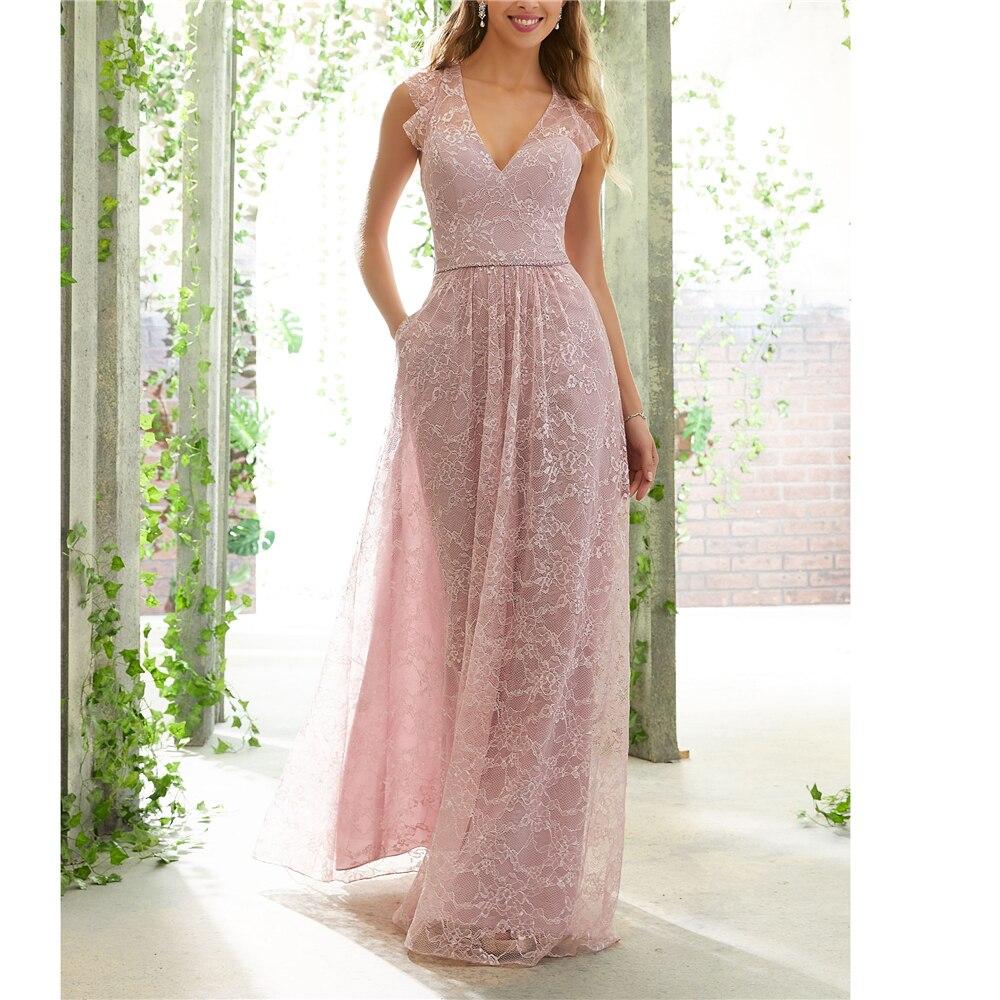 Elegant High Quality Nude Pink Lace Chiffon Deep V-neck   Bridesmaid     Dresses     Dress   For Wedding Party   Bridesmaids   Long   Dresses   2019