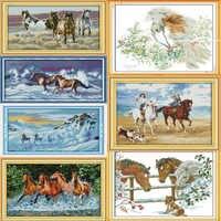 Gioia Domenica Una varietà di cavalli Tela DMC Contato Kit Punto Croce Cinese stampati Cross-stitch set Embroidery Needlework