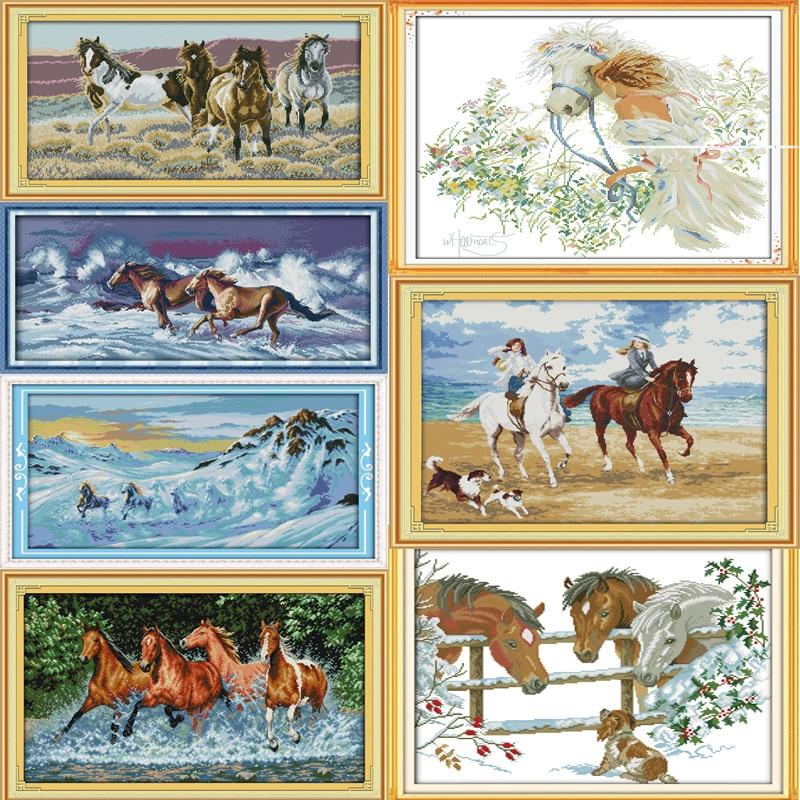 Joy Sunday A variety of horses Canvas DMC Counted Chinese Cross Stitch Kits printed Cross-stitch set Embroidery Needlework