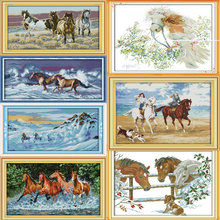 Joy Sunday A variety of horses Canvas DMC Counted Chinese Cross Stitch Kits printed Cross-stitch set Embroidery Needlework(China)