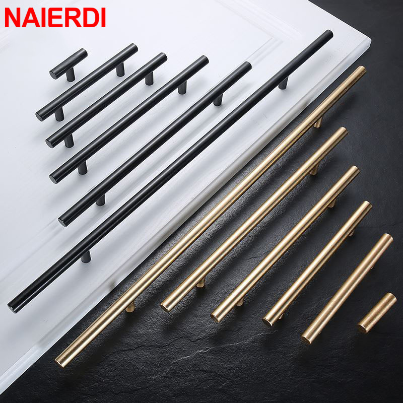 NAIERDI Brushed Black Gold Kitchen Door Handles Stainless Steel Straight Cupboard Handles Knobs Cabinet Pull Furniture Handle